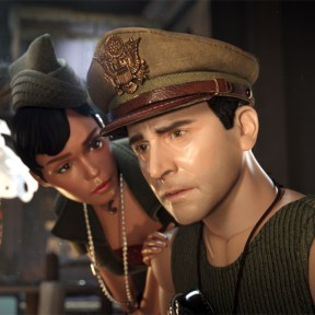 (L to R) G.I. Julie (JANELLE MONÁE) comfort Cap'n Hogie (STEVE CARELL) in Welcome to Marwen,